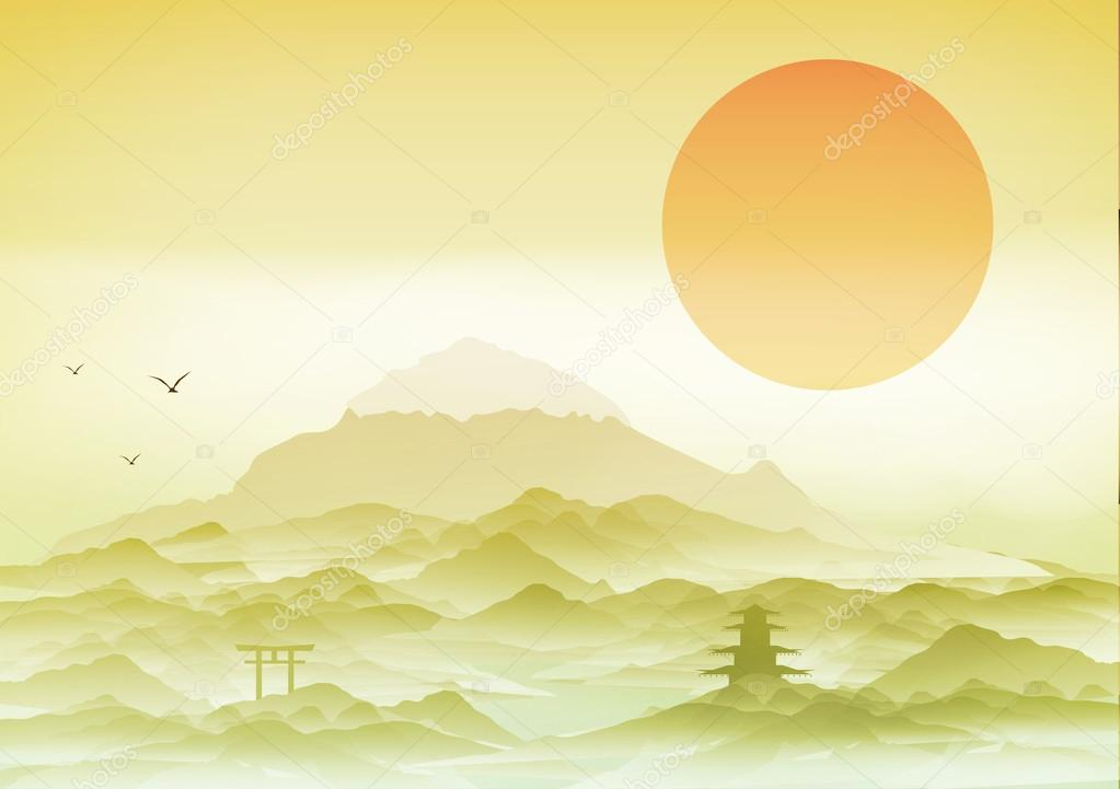 Japanese Landscape Background with Mountains and Arch - Vector Illustration