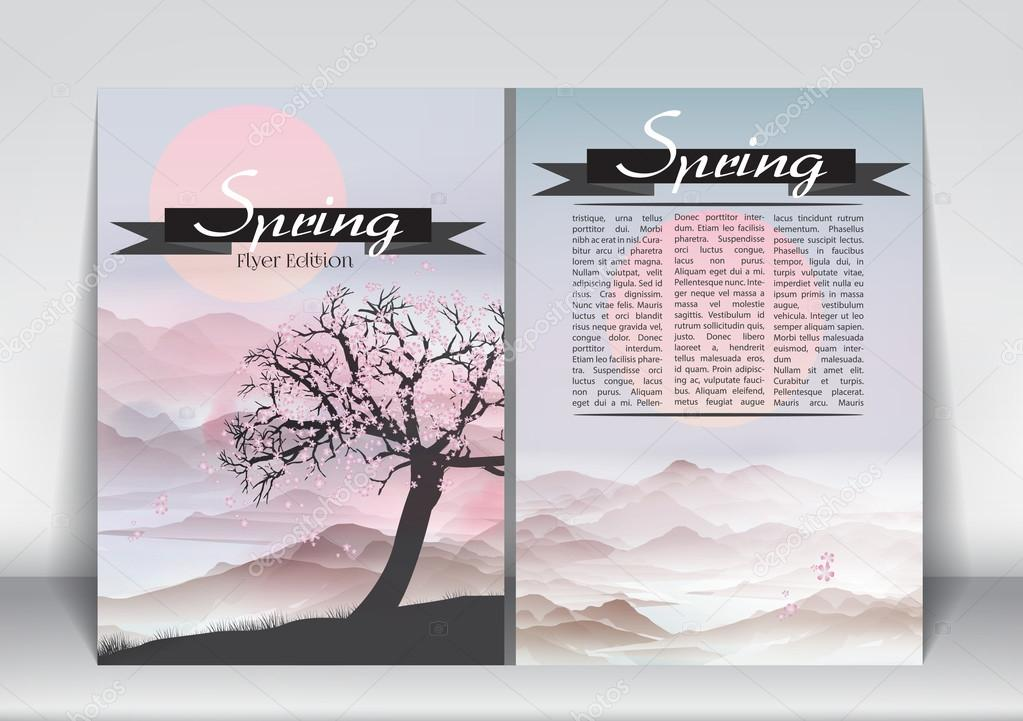 Abstract Flyer Brochure Design Template of Spring Season with Abstract Trees - Vector Illustration