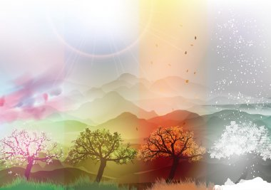 Four Seasons Banners Spring, Summer, Fall, Winter with Abstract Trees and Mountains  - Vector Illustration stock vector