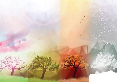 Four Seasons Banners with Abstract Trees - Vector Illustration clip art vector