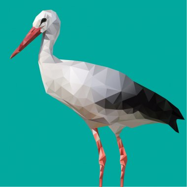 Abstract Low Poly White Stork, (Ciconia ciconia) - Vector Illustration