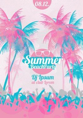 Retro Summer Beach Party Vector Flyer - Vector Illustration