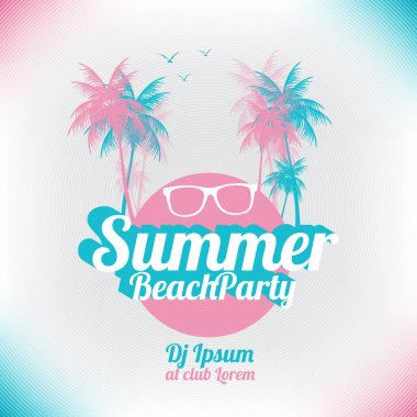 Retro Summer Beach Party Vector Flyer - Vector Illustration