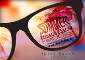 Fényképek nyári beach party szórólap tervezés, napszemüveg, elmosódott háttér - vektor-illusztráció