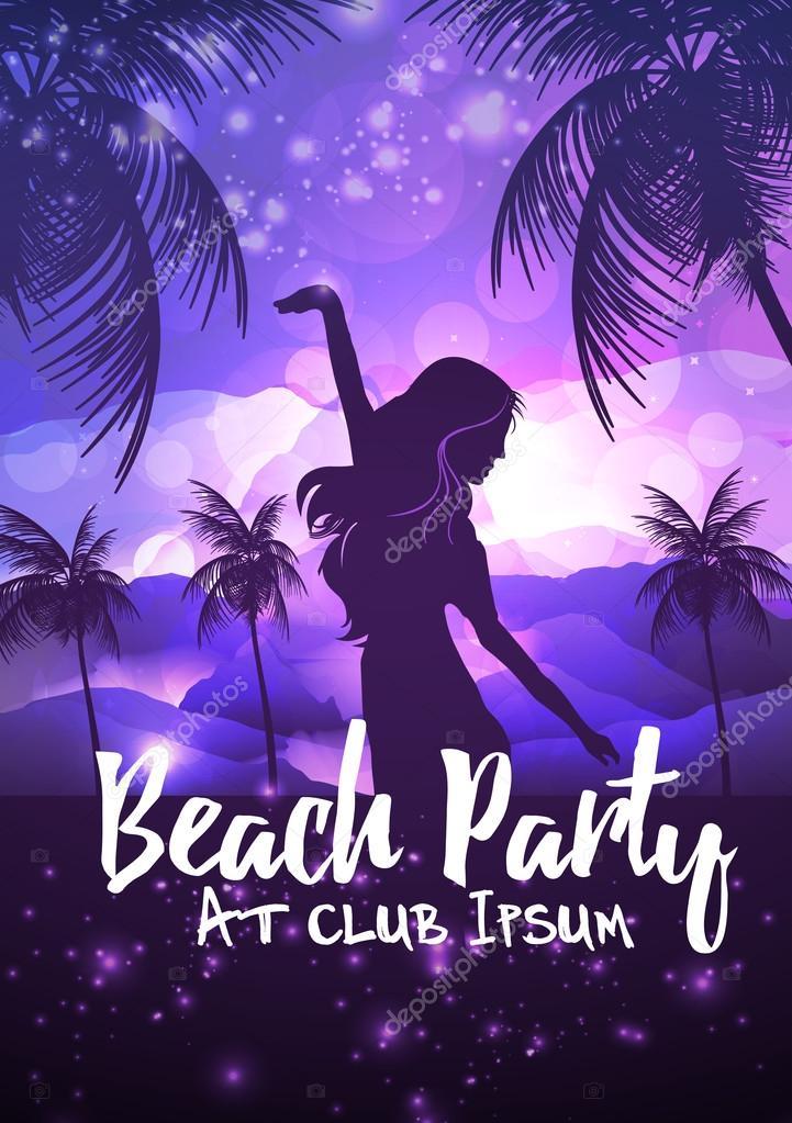 Summer Beach Night Party Flyer Template - Vector Illustration ...