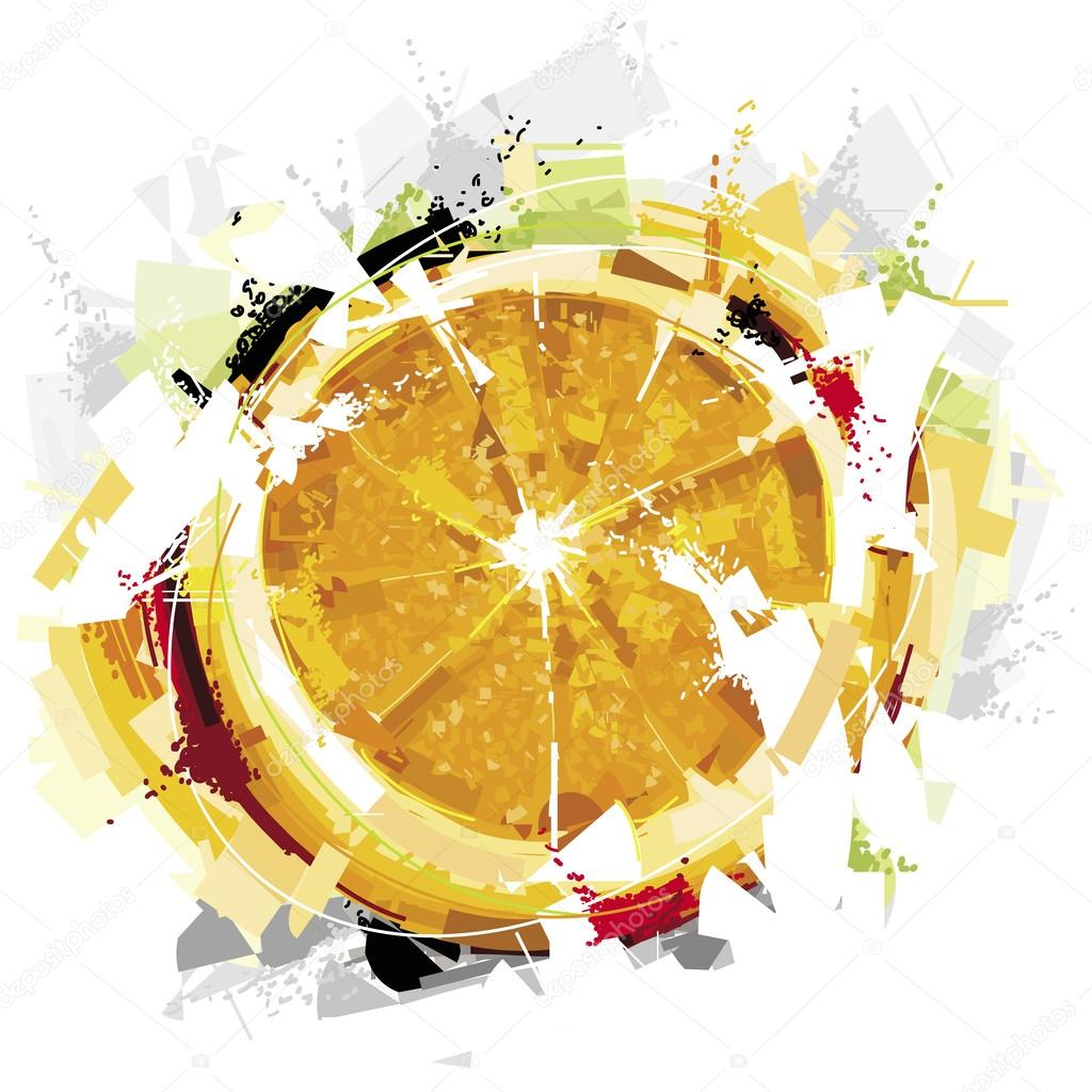 Abstract Orange Fruit Abstract Orange Fruit Stock Vector