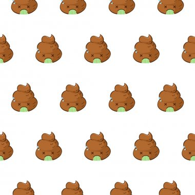 Funny vector seamless pattern with vomiting emoji on white background. Kawaii poop emoji is sick. icon