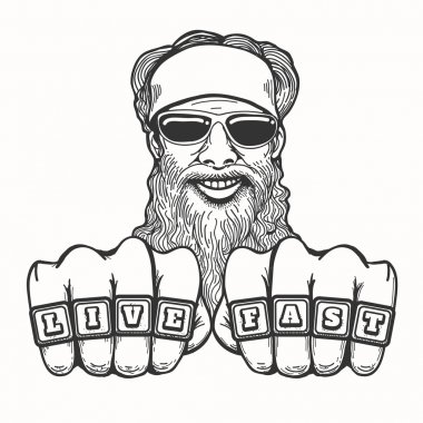 Bearded Biker in cartoon style
