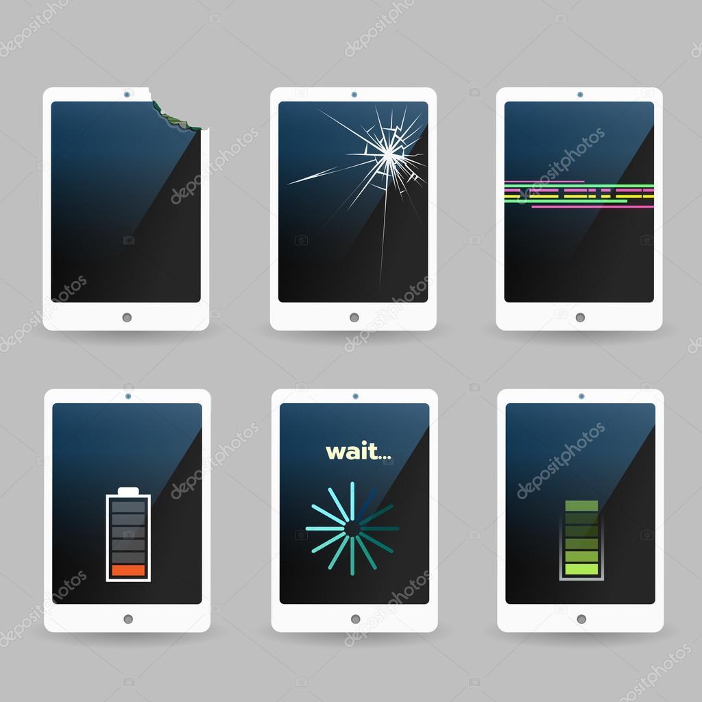 fissur et cass t l phone mobile smartphone ou tablette d finie image vectorielle bogadeva. Black Bedroom Furniture Sets. Home Design Ideas