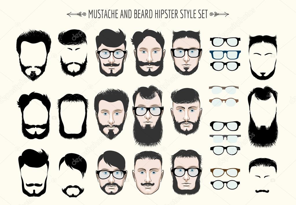 Exceptionnel et barbe Hipster mode jeu — Image vectorielle #83356828 ZZ09