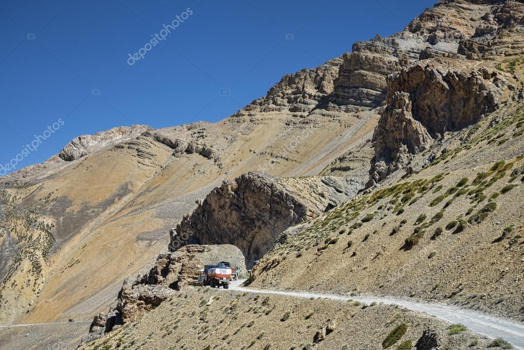 Trucks going on mountain road