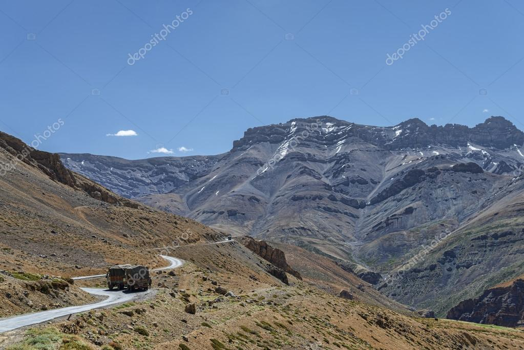 View of winding road in mountains