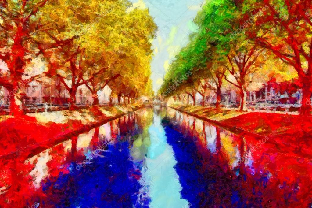 Water canal in Dusseldorf colorful psychedelic landscape oil painting