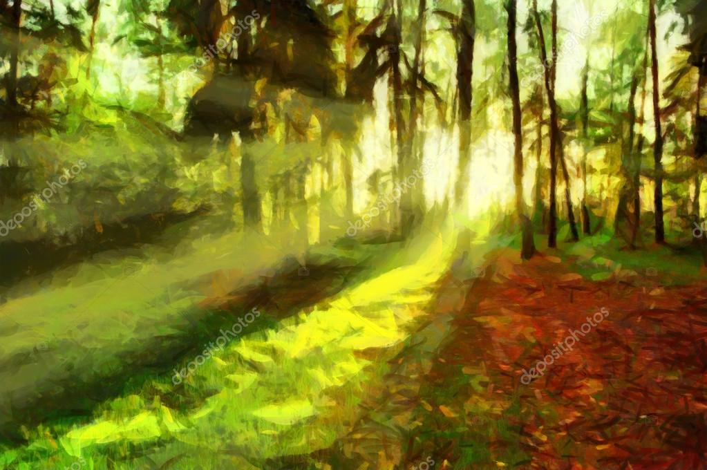 Evening sun shining through summer forest - oil painting