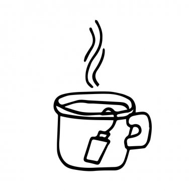 Doodle mug with a tea bag and boiling water