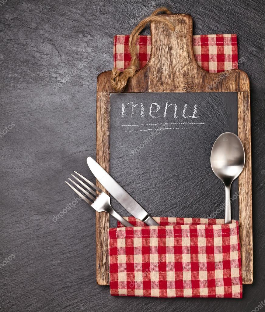 Küchenutensilien auf Schiefer — Stockfoto © Vitaina #103719352
