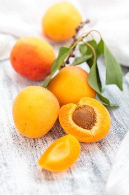 Fresh ripe apricots .