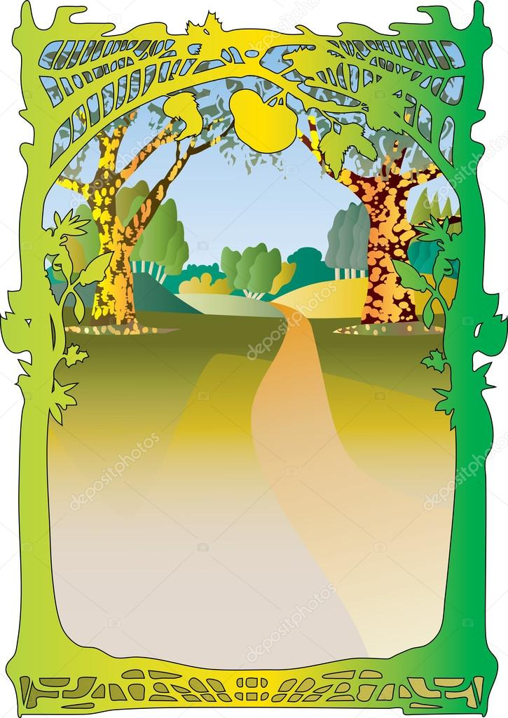 Woodland frame in the art nouveau style.