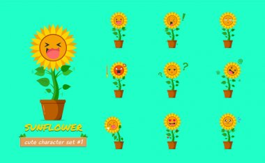 Sunflower character set #1 isolated on a green background. Sunflower character emoticon illustration icon