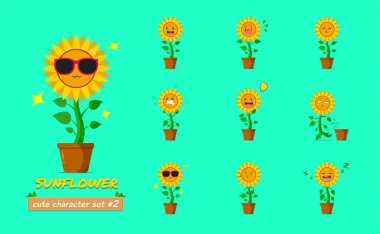 Sunflower character set #2 isolated on a green background. Sunflower character emoticon illustration icon