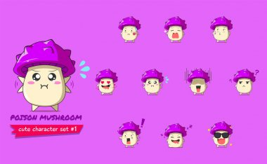 A set of poison mushrooms character #1 isolated on purple background. a poison mushrooms character emoticon illustration icon