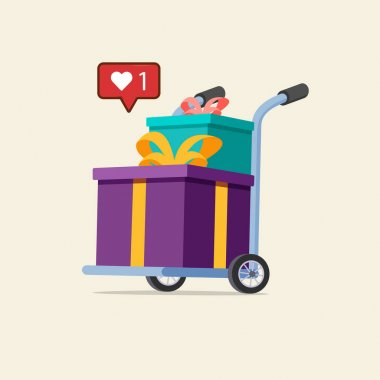Barrow full of present boxes isolated on brown. Metallic wheeled trolley with present box. Delivery service and logistics icon
