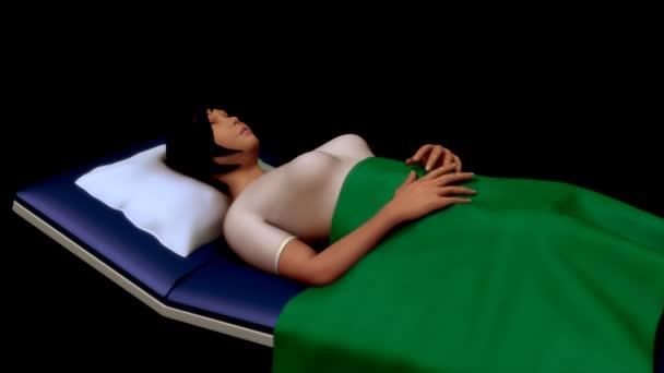 Patient liegt im Krankenhausbett