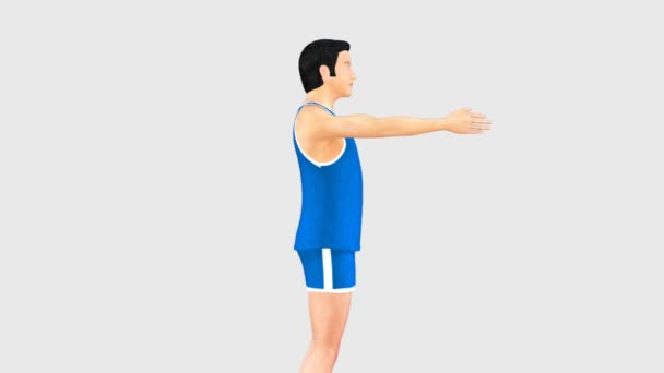 Man doing angular movement of shoulder joint