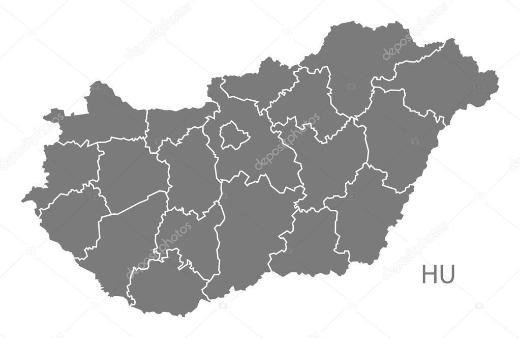 Hungary Counties Map Grey Stock Vector C Ingomenhard 122017102