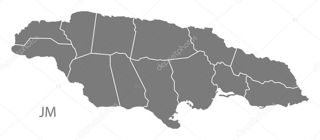 Jamaica with parishes Map grey — Stock Vector © ingomenhard #122018010