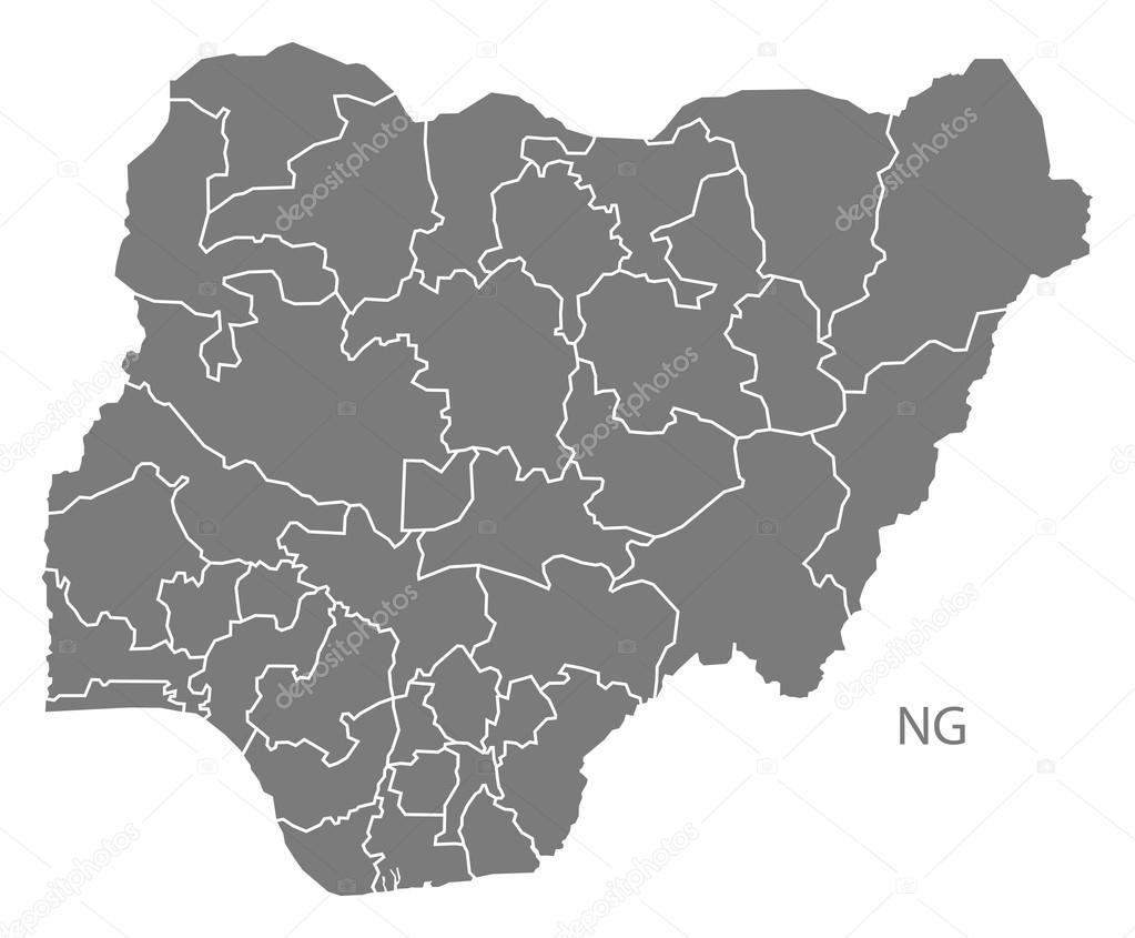 ナイジェリアの州地図グレー — ...