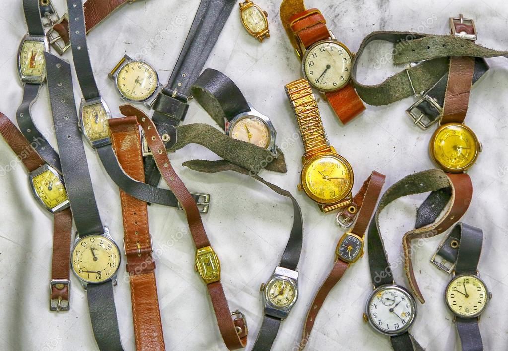 Old wrist watches, photo in old image style.