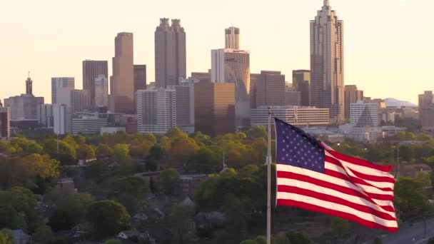 Atlanta Aerial v263 Flying low around American flag with cityscape views at sunset - April 2017