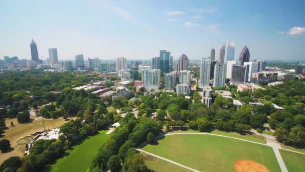 Atlanta Aerial v320 Flying low over Piedmont Park sunny full cityscape - September 2017