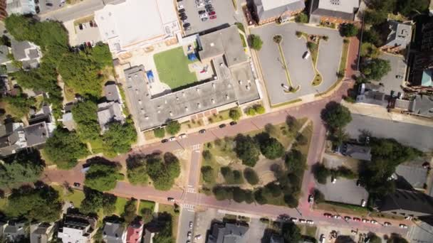 Macon Georgia Aerial v14 Vertikální pohled nad katolickou školou sv. Josefa a okolí - říjen 2017