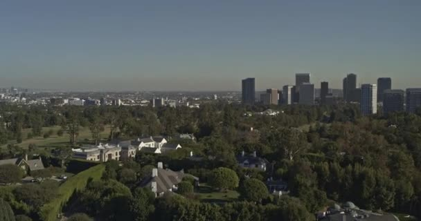 Los Angeles Aerial v205 Westwood, Century City spanning cityscape from above Holmby Hills mansions - October 2019