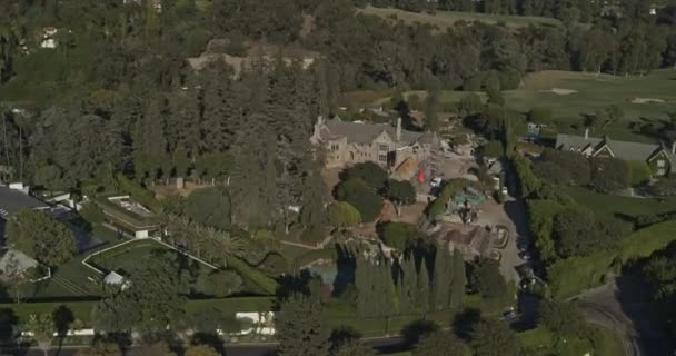 Los Angeles Aerial v206 Panning birdseye rotating to near vertical around Playboy Mansion, Holmby Hills - October 2019