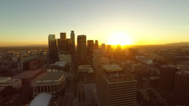 LA aerial downtown during sunset.