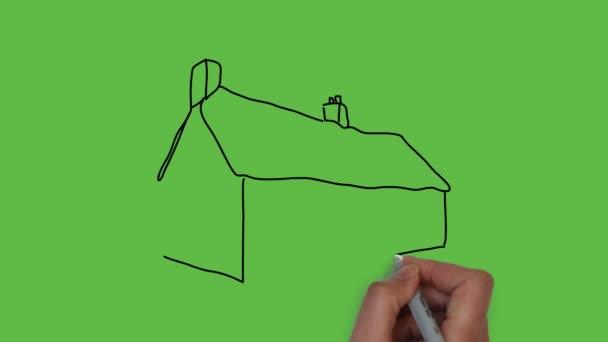kreslení domácí umění s kombinací barev na zeleném pozadí