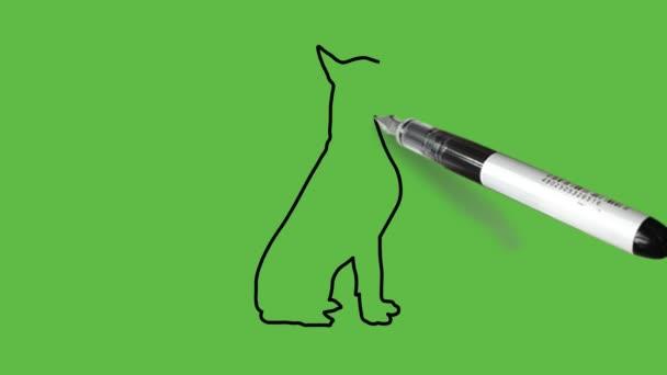 Aktív kutya rajzolása fekete-kék színkombinációban elvont zöld háttérrel