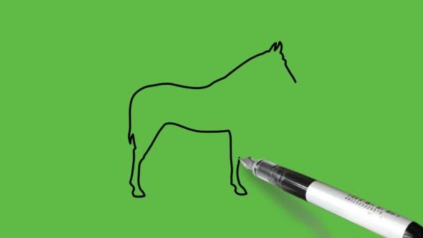 Fekete-kék színű ló rajzolása elvont zöld háttérrel