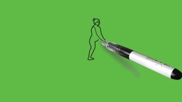 Lovas rajzolása fekete, barna, rózsaszín, narancs és kék színkombinációban absztrakt zöld háttérrel