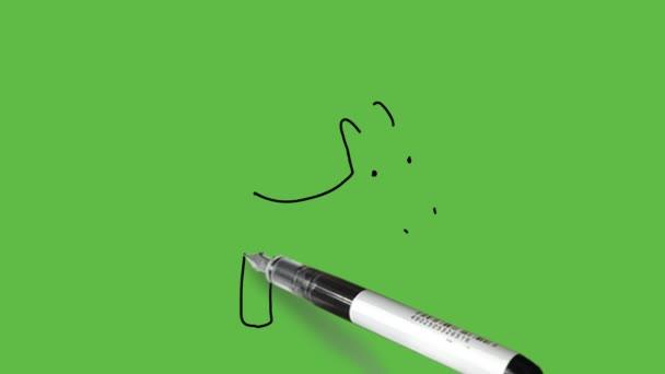 Egyszarvú ló rajzolása fekete, fehér és szürke színkombinációban elvont zöld háttérrel