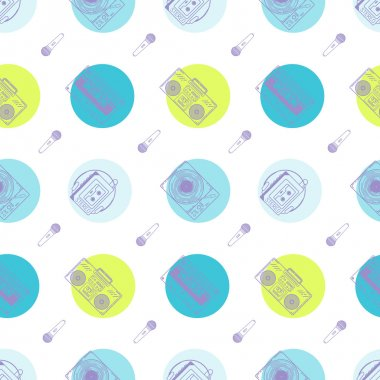 Music flat line retro seamless pattern