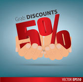Grab discounts. Hands hold 5 percent discount. vector banner dis