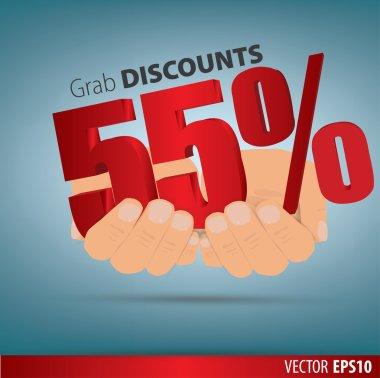 Grab discounts. Hands hold 55 percent discount. vector banner di