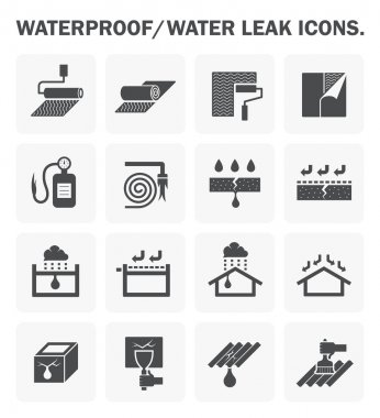 Waterproofing icon sets
