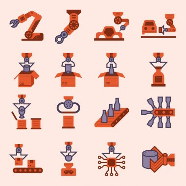 Robot and conveyor belt icons sets. stock vector