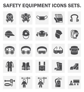 Safety equipment icons sets. stock vector