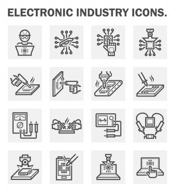 Electronics industry icons. stock vector